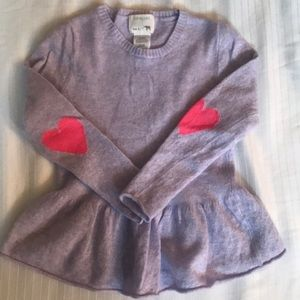Crewcuts Peplum Sweater with Heart Detail.